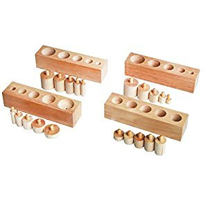 Montessori Sensorial Material Family Set MINI Knobbed Cylinder Wooden Blocks