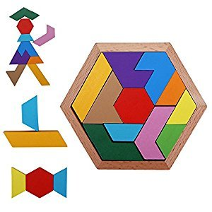 PlayMaty Colorful Wooden Tangram Puzzle Montessori Educational Toys For Children DIY Math Toy Jigsaw Puzzles Kids Intellectual Blocks Toy