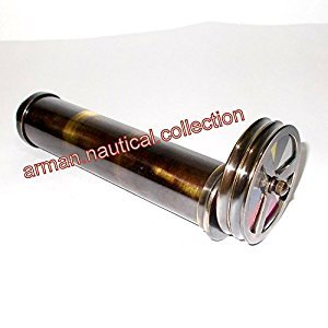 COLLECTIBLES Brass Double Wheel Kaleidoscope VINTAGE ITEM GIFT BRASS TELESCOPE m D
