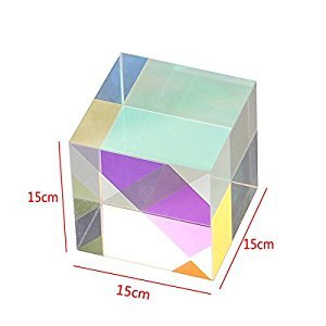 F-ber 1pc Optical Glass RGB Dispersion Prism X-CUBE for Physics Teach Decoration Art 15x15x15mm/0.59'' x 0.59'' x 0.59