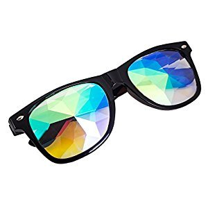 OMG_Shop Festivals Kaleidoscope Glasses Rainbow Prism Sunglasses Goggles (Black-#)