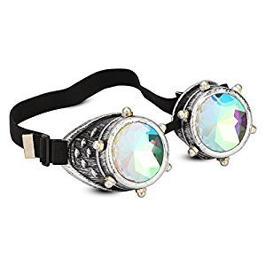 Posher FL1 Geometric Prism Kaleidoscope Steampunk Rave Glasses Goggles with Rainbow Crystal Glass Lens with Gift Bag Brown