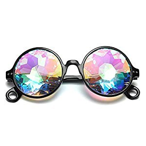Studyset Stylish Kaleidoscope Sunglasses Retro Round Mosaic Goggles for Men Women Cosplay Prom Party Dress up