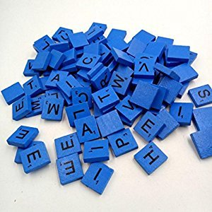 Boddenly 100PC Wooden Scrabble Tiles Letters Numbers Crafts Wood Alphabets Puzzle Toy (Blue)