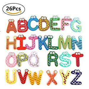 Yosoo Fun Colorful Magnetic Letters Stickers A-Z Alphabet Letter Wooden Cartoon Refrigerator Fridge Magnets Kids Child Educational Toy 26pcs