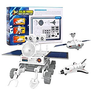 DADGOD Children 3-in-1 Solar powered science kit Educational Toys that can be assembled into 3 different moon-exploring fleet modules