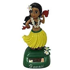 Dashboard Fashion Hawaii Girl Car Solar Powered Dancing Animated Bobble Dancer Toy 6 Styles (dance yellow)