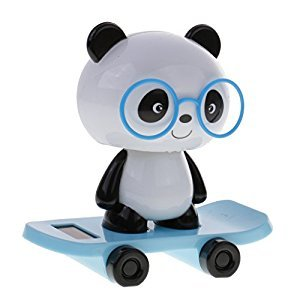 MonkeyJack Adorable Plastic Solar Powered Skateboard Shaking Head Glasses Panda Doll Auto Accessories Home/Table Decoration Toy Blue
