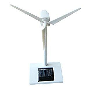 MonkeyJack White Plastic Solar Powered Windmill Rotating Wind Turbine Model Kids/Children Educational Toy Desktop Decor
