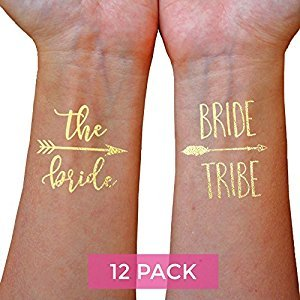 Bachelorette Party Tattoos - Bride Tattoos (12 Pack), Gold Bride Tribe Temporary Tattoos for Bachelorette Parties
