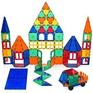 Playbees 100 Piece Magnetic Building Toy Building Blocks, Vivid Clear Colors 3D Magnetic Tiles Set 100 pc