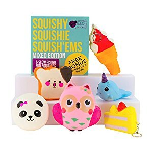 Slow Rising Jumbo MIXED SQUISHIES in GIFTABLE BOX: Ice Cream, Panda Bun, Cake, Toast, Whale and Owl Kawaii Soft Squeeze Squishy Toys or Stress Balls & BONUS Stickers and Scratch Paper