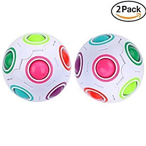 2Pcs Magic Rainbow Ball Cube Puzzle Fun Fidget Balls For Children And Adults