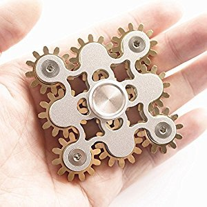 Fidget Spinner, DMaos Newest 9 Gear Spin Finger Games Hand Toy Smooth Metal Copper Stainless Steel Stable Bearing Crusader Durable Mechanics Romoveable EDC High Speed - Gold