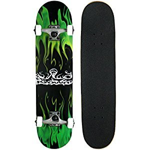 Krown Rookie Complete Skateboard, Green Flame(KRRC-28)