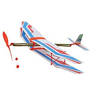 DIY Assembly Aircraft Aviation Model Planes Powered By Rubber Band Children Kids Outdoor Toy White & Blue