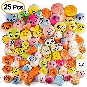 Emango 25 Pcs Random Slow Rising Squishy Food Cake/Panda/Ice Cream Toys Cell Phone Straps Key Chains Stress Relief toy Party Favors