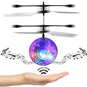 Music Flying Ball, U-KISS LED Lighting Built-in Shinning RC Aircraft Infrared Induction Helicopter Flying Toys for Kids,Teenagers