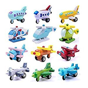 SODIAL(R) Set of 12 Wooden Airplane Model Educational Toys