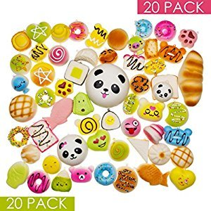 Squishy Toys – Squishies Jumbo Slow Rising – Variety of 20 Squishy Package – Panda Squishy, Food Squishies, Squishy Cat - Phone Charms Key Chain Strap Squishys