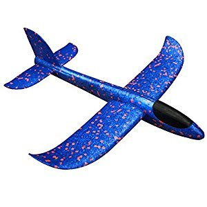 Throwing Glider Inertia Plane Foam Aircraft Toy Hand Launch Airplane Model for Kid Funny Flying Toy (blue)