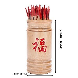 Chinese Fortune Telling Sticks W. Instruction Booklet Natural Bamboo Cansiter Red