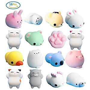16 Pc Cute Animal Squishy Mini Soft Squishy Mochi Squeeze Toy for Gift,Stress Relief,Decoration
