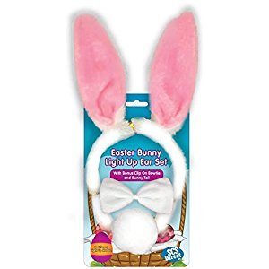 Bunny Ears - 3pc Easter Bunny Light-up Blinking Ear Set with Clip-on Tail and Bowtie - One Size Fits All