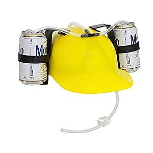 EZ Drinker Beer and Soda Guzzler Helmet-Drinking Hat, Yellow