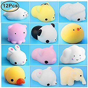 Mini Squishies Squishy Mochi, Outee 12 Pcs Squishy Animals Slow Rising Squishies Mochi Squishy Toys Kawaii Mini Squishies Stress Squishy Toys Mochi Toys