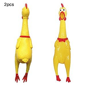 Screaming Chicken,ITOY&IGAME 2 PCS Squeezing Screaming Chicken Toy Squawkin Chicken Funny Rubber Chicken Pet Toys Gift 16in for Kids Adults to Relax or Pet Dog Squeak Chew Prank Joke Relax Toy