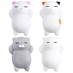 TOYMYTOY 4Pcs Cartoon Slow Rising Toys Mini Cute Kitty Buns Stress Relief Toy
