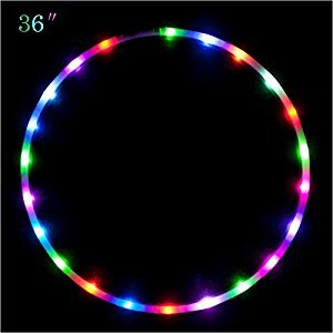 36 inch LED Light Up (8-10 hours) Hula Hoop, willway 27 Colors Changing LED Hula Hoop for Kids Adults, Portable & Weighted (36 Inch)