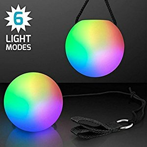Kepeak Throw LED Poi Balls Rave Balls for Dances, Camping & Fun Indoor/Outdoor Activities, Best of Stress balls for ADD, Autism(Set of 2)