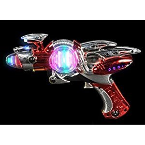 Red Laser Space Gun Blaster Toy-Light Up -Noise Making -Super Spinning -11 1/2 Inch- For Children, Play Time, Pretend, Parties, Halloween, & Gifts - Kidsco