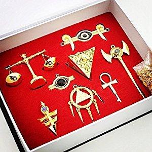 8 pcs Yu-Gi-Oh Yugioh Duel Monsters Necklace Pendant Key Set Collection Gold plus One Luxury Gift Box Yugi Muto