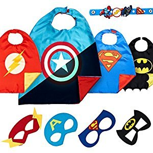 LAEGENDARY Super Hero Capes for Kids Toys – Dress Up Clothes for Boys – Superhero Party Supplies Birthday – 4 Kids Costumes with Glow in the Dark Captain America Logo