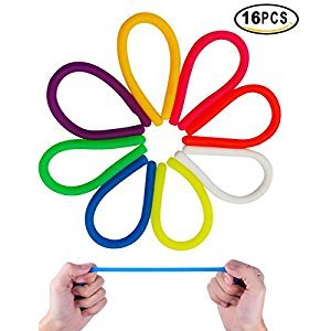 UClever Colorful Sensory Fidget Stretch Toys Stretchy Strings Helps Reduce Fidgeting Due to Stress and Anxiety for ADD, ADHD, Autism 16 Pack(8 Colors)