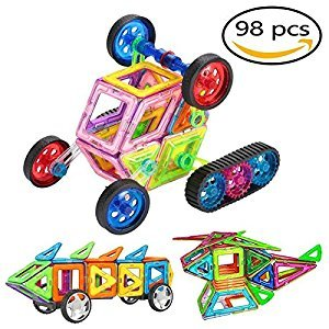 Magnetic Building Blocks,Homeey 98pcs Magnetic Tiles Educational building set For Preschool Boys Girls Educational and Creative Imagination Development
