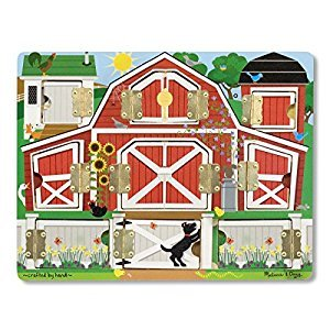Melissa & Doug Hide and Seek Farm Wooden Activity Board With Barnyard Animal Magnets
