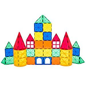 Playbees 36 Piece Magnetic Tiles Set for Toddlers, Magnet Building Blocks with Vivid Clear Color Shapes for 2D and 3D Construction, Kids Learning Toy Kit for Preschool Boys and Girls, 36 pc