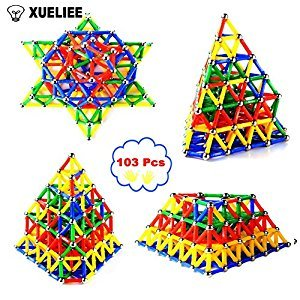 XUELIEE 103 pcs Educational Magnetic Sticks Building Blocks Toys, Magnetic Tiles Construction Blocks 3D Educational Toy Set for Kids (103pcs+bag)