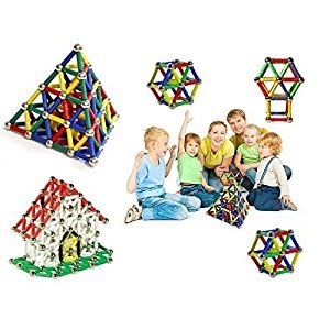 XUELIEE 206 pcs Educational Magnetic Sticks Building Blocks Toys, Magnetic Tiles Construction Blocks 3D Educational Toy Set for Kids
