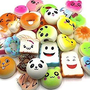 20 Pieces Random Squishy Slow Rising Soft Food Squishy Charm Key Chain Phone Strap For Christmas Gifts