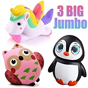 3 Packs of Squishies jumbo Unicorn Horse Penguin Owl Slow Rising Squishy Stress Reliever Kawaii Animal Toys,Simulations Gifts Decorations Party Favors by Synmila