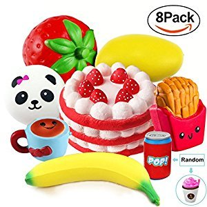 AMENON 8 Pack Squishy Jumbo Slow Rising Soft Toys Strawberry Cake Panda Bun Coffee Cup Fruit Mango Banana Chips Fast Food sippy cups Stress Relief Squeeze Fidget Toy for Kids or Adults,Party Gifts