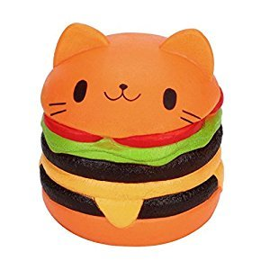 ASTV Jumbo Cartoon Cat Hamburger Scented Squishy Slow Rising Squeeze Toys Decompression Toy for Kids Fidget toy Gift decorative props Large or Stress Relief (orange)