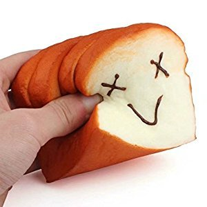 Kawaii Slow Rising Squishy Slice Toast Random Expression Smiley Face Phone Card Holder Hand Pad Fun Toy Gift