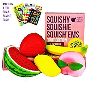 Slow Rising Jumbo FRUIT SQUISHIES PACK in a GIFT BOX: Watermelon, Peach, Strawberry, Banana & Mango Kawaii Squishy Toys or Stress Balls PLUS BONUS Stickers Come With the Squishys!