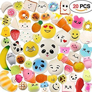 Squishy Toys 20 Random PCS, Acetek Party Bag Fillers Gifts Party Favors for Kids Cute Kawaii Soft Squish Toy Slow Rising Stress Relieve Squeeze Lovely Fidget Key Chain Strap Charms Pendent Decoration